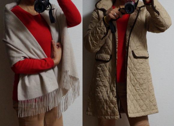 赤いセーターのコーデ