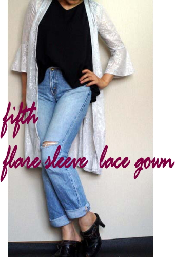 flare sleeve レースgown