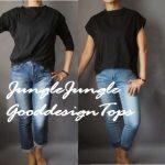 【ジャングルジャングル】着るだけで今っぽくなる黒トップス2種~長袖&フレンチ袖~