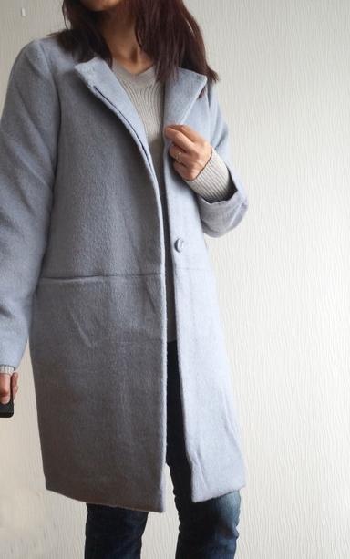ノーカラーコートを着てみました。