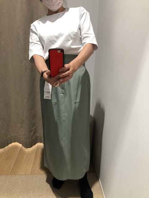 グリーンストレートスカート
